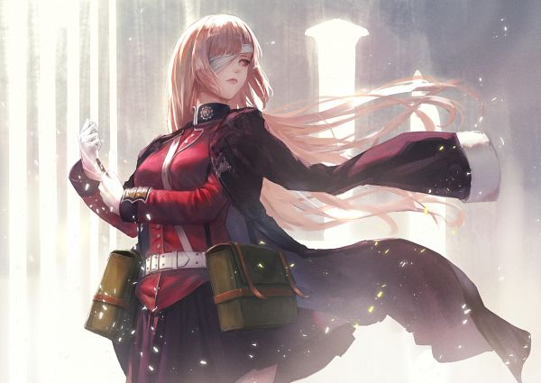 Tags: Anime, Pixiv Id 3128409, Fate/Grand Order, Berserker (Florence Nightingale), Adjusting Gloves, Backlight, Column, Pixiv, Fanart, Fanart From Pixiv