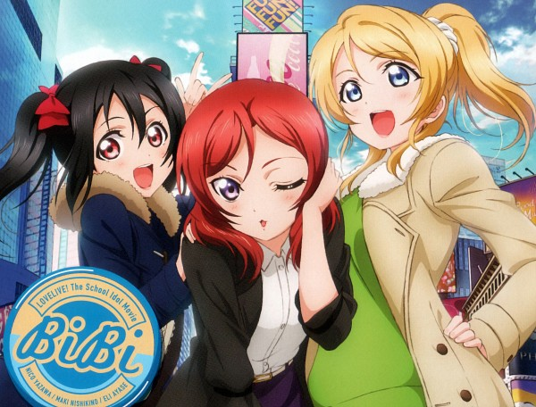 Tags: Anime, Sunrise (Studio), Love Live!, Ayase Eri, Yazawa Niko, Nishikino Maki, Official Art, CD (Source), Self Scanned, Post Card, Scan, BiBi (Love Live!)