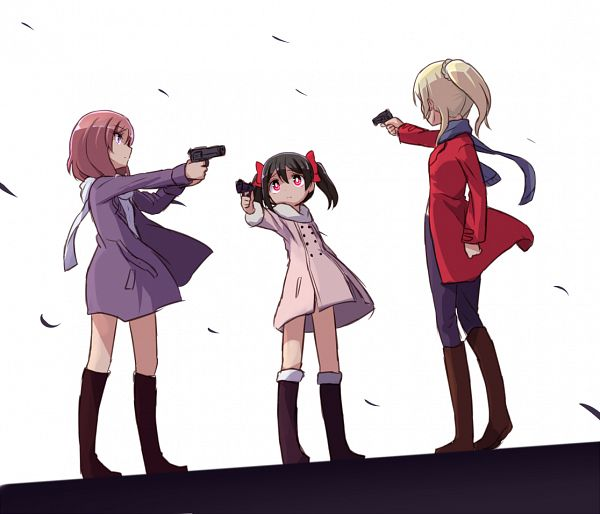 Tags: Anime, Sikei, Love Live!, Nishikino Maki, Ayase Eri, Yazawa Niko, Mexican Standoff, Aiming At Another, PNG Conversion, BiBi (Love Live!)