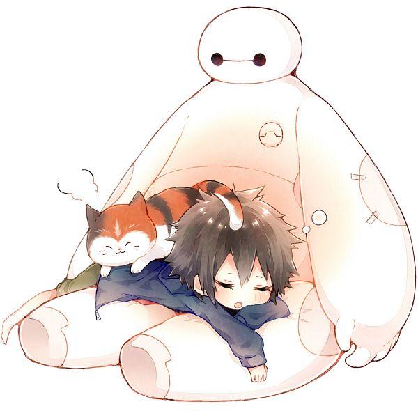 Tags: Anime, Niwako, Big Hero 6, Mochi (Big Hero 6), Baymax, Hiro Hamada, Fanart From Pixiv, Disney, Pixiv, Fanart