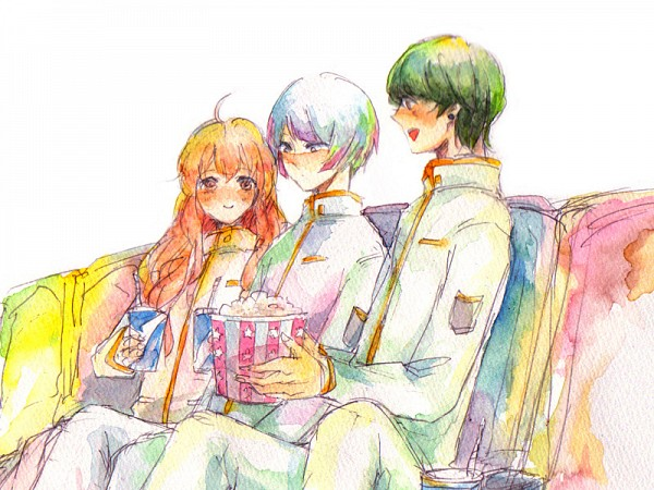 Tags: Anime, Pixiv Id 1669279, Binan Koukou Chikyuu Bouei-bu Love!, Gero Akoya, Arima Ibushi, Kusatsu Kinshirou, Movie Theater, Popcorn, Traditional Media, Watercolor, Cute High Earth Defense Club Love!