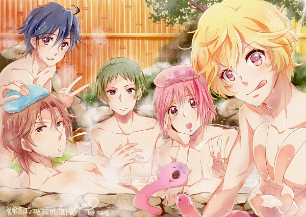 Tags: Anime, Pixiv Id 1664803, Binan Koukou Chikyuu Bouei-bu Love!, Naruko Io, Kinugawa Atsushi, Yufuin En, Wombat (Binan Koukou Chikyuu Bouei-bu Love!), Hakone Yumoto, Zaou Ryuu, Towel On Head, Washing, Steam, Pixiv, Cute High Earth Defense Club Love!