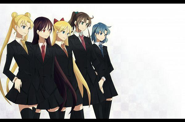 Tags: Anime, Shokushu Ura, Bishoujo Senshi Sailor Moon, Hino Rei, Kino Makoto, Mizuno Ami, Aino Minako, Tsukino Usagi, Orange Neckwear, Fanart From Pixiv, Pixiv, Fanart, Pretty Guardian Sailor Moon