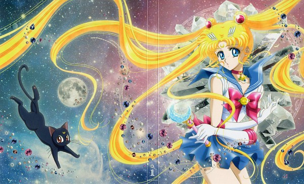 Tags: Anime, Sakou Yukie, Toei Animation, Bishoujo Senshi Sailor Moon, Luna (Sailor Moon), Sailor Moon (Character), Tsukino Usagi, Silver Crystal, Henshin Brooch, Moon Stick, DVD (Source), Official Art, Wallpaper, Pretty Guardian Sailor Moon