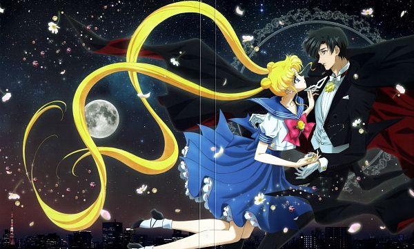 Tags: Anime, Toei Animation, Bishoujo Senshi Sailor Moon, Chiba Mamoru, Tsukino Usagi, Tuxedo Kamen, Henshin Brooch, Wallpaper, Scan, DVD (Source), Official Art, Pretty Guardian Sailor Moon