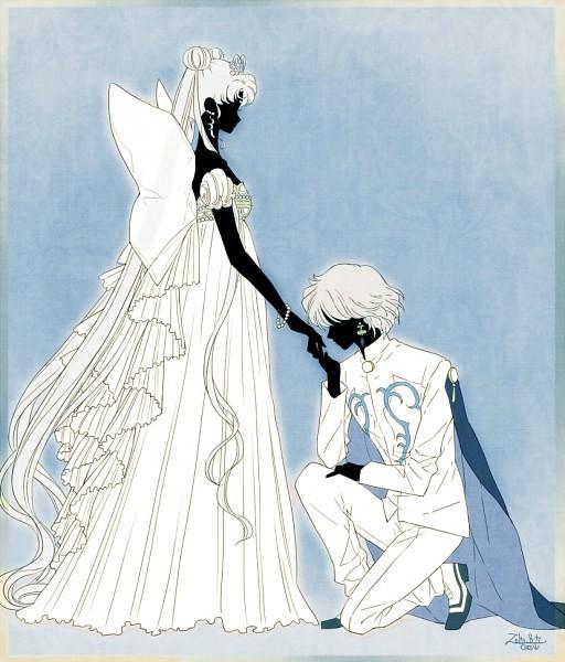 Tags: Anime, Saki Kunkatan, Bishoujo Senshi Sailor Moon, Prince Diamond, Tsukino Usagi, Neo-Queen Serenity, Serenity Crystal Tiara, Silhouette Face, Fanart From Pixiv, Fanart, Pixiv, Pretty Guardian Sailor Moon