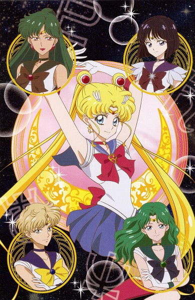 Tags: Anime, Takahashi Akira, Toei Animation, Bishoujo Senshi Sailor Moon, Sailor Uranus, Kaiou Michiru, Tenou Haruka, Sailor Saturn, Tomoe Hotaru, Sailor Pluto, Tsukino Usagi, Sailor Neptune, Meiou Setsuna, Pretty Guardian Sailor Moon