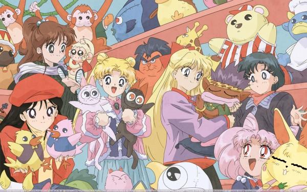 Tags: Anime, Tadano Kazuko, Toei Animation, Bishoujo Senshi Sailor Moon, Tsukino Usagi, Mizuno Ami, Luna (Sailor Moon), Chibiusa, Kino Makoto, Artemis (Sailor Moon), Hino Rei, 2000x1250 Wallpaper, Official Art, Pretty Guardian Sailor Moon