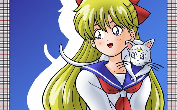 Tags: Anime, Pixiv Id 4682741, Bishoujo Senshi Sailor Moon, Aino Minako, Artemis (Sailor Moon), White Cat, Animal on Lap, Fanart, Pixiv, Wallpaper, Fanart From Pixiv, Pretty Guardian Sailor Moon