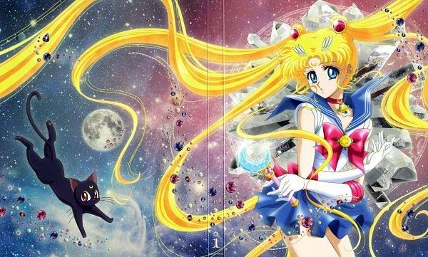 Tags: Anime, Sakou Yukie, Toei Animation, Bishoujo Senshi Sailor Moon, Luna (Sailor Moon), Tsukino Usagi, Sailor Moon (Character), Henshin Brooch, Moon Stick, DVD (Source), Official Art, Scan, Pretty Guardian Sailor Moon