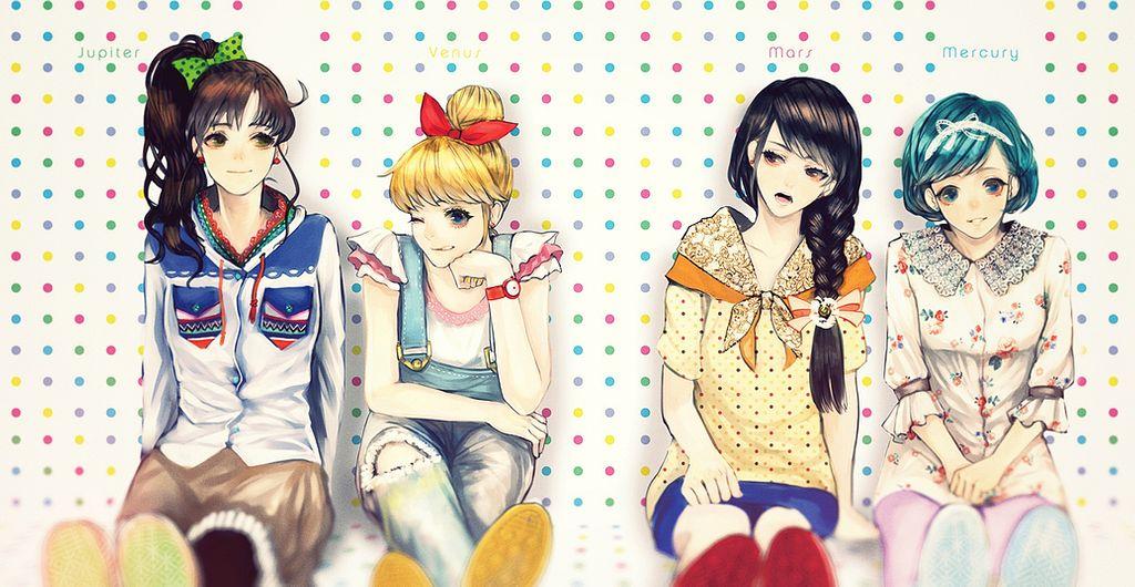 Tags: Anime, Say HANa, Bishoujo Senshi Sailor Moon, Hino Rei, Mizuno Ami, Kino Makoto, Aino Minako, Orange Footwear, Brown Skirt, Torn Pants, Orange Bow, deviantART, Fanart, Pretty Guardian Sailor Moon