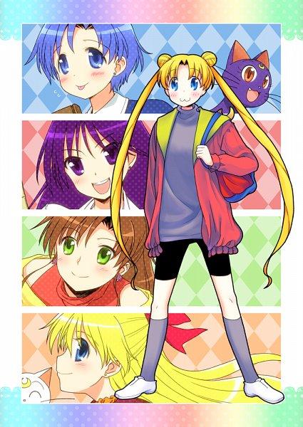 Tags: Anime, Kurosu Tsugutoshi, Bishoujo Senshi Sailor Moon, Tsukino Usagi, Aino Minako, Artemis (Sailor Moon), Hino Rei, Mizuno Ami, Luna (Sailor Moon), Kino Makoto, K-ON! (Parody), Fanart From Pixiv, Fanart, Pretty Guardian Sailor Moon