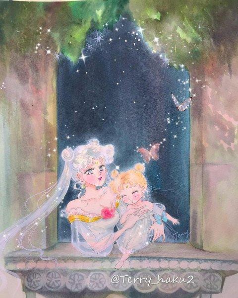Tags: Anime, Terry Haku, Bishoujo Senshi Sailor Moon, Queen Serenity, Princess Serenity, Tsukino Usagi, Pretty Guardian Sailor Moon