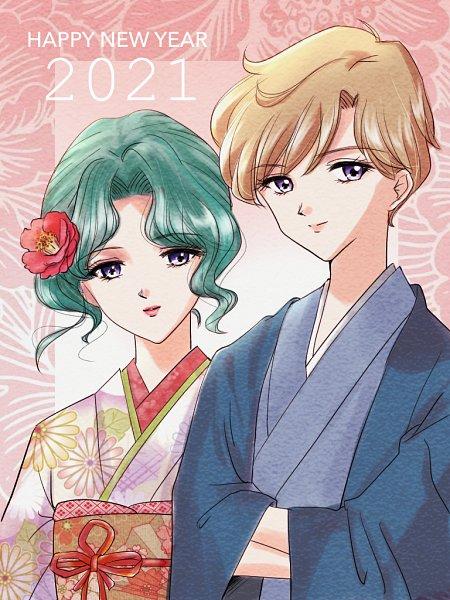 Tags: Anime, Pixiv Id 17218243, Bishoujo Senshi Sailor Moon, Kaiou Michiru, Tenou Haruka, Happy 2021, Fanart, Fanart From Pixiv, Pixiv, Pretty Guardian Sailor Moon