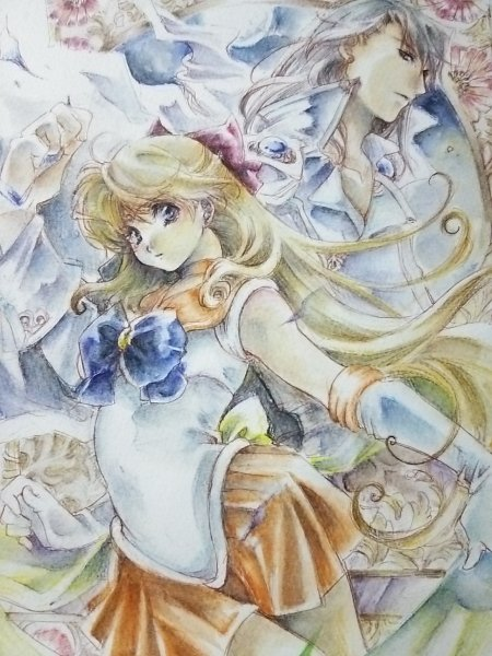 Tags: Anime, Bishoujo Senshi Sailor Moon, Sailor Venus, Aino Minako, Kunzite, Traditional Media, Pretty Guardian Sailor Moon
