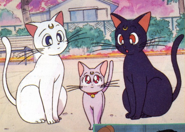 Tags: Anime, Tadano Kazuko, Bishoujo Senshi Sailor Moon, Diana (Sailor Moon), Artemis (Sailor Moon), Luna (Sailor Moon), White Cat, Official Art, Pretty Guardian Sailor Moon