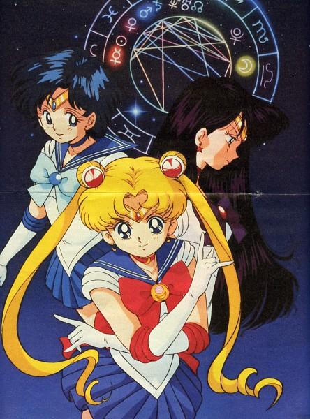 Tags: Anime, Bishoujo Senshi Sailor Moon, Sailor Mars, Sailor Moon (Character), Tsukino Usagi, Hino Rei, Mizuno Ami, Sailor Mercury, Crease, Henshin Brooch, Constellation, Pretty Guardian Sailor Moon