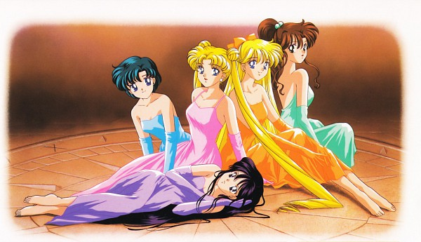 Tags: Anime, Tadano Kazuko, Bishoujo Senshi Sailor Moon, Hino Rei, Kino Makoto, Mizuno Ami, Aino Minako, Tsukino Usagi, Official Art, Pretty Guardian Sailor Moon