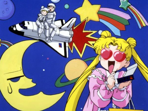 Tags: Anime, Bishoujo Senshi Sailor Moon, Tsukino Usagi, Chiba Mamoru, Spaceship, Wallpaper, Pretty Guardian Sailor Moon