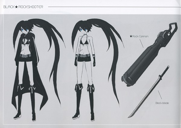 Tags: Anime, Huke, Black★Rock Shooter, Black★Rock Shooter: Visual Works, Black★Rock Shooter (Character), Cannon, ★rock Cannon, Sketch, Scan, Official Art