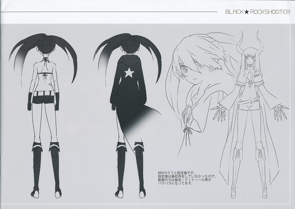 Tags: Anime, Black★Rock Shooter, Black★Rock Shooter: Visual Works, Black★Gold Saw, Black★Rock Shooter (Character), Official Art, Sketch, Scan