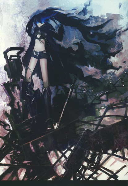 Tags: Anime, Huke, Black★Rock Shooter, PICSIX, Black★Rock Shooter: Visual Works, Black★Rock Shooter (Character), ★rock Cannon, Cannon, Scan, Mobile Wallpaper, Official Art