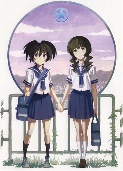 Tags: Anime, SANZIGEN, Black★Rock Shooter, Takanashi Yomi, Kuroi Mato, Scan, Official Art, Mobile Wallpaper
