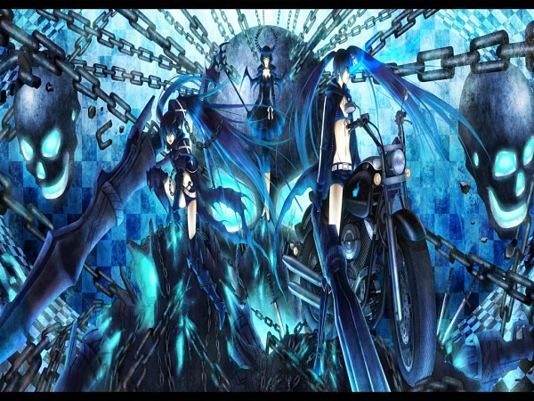 Tags: Anime, Yuuno (Yukioka), Black★Rock Shooter, Insane Black★Rock Shooter, Black★Rock Shooter (Character), Dead Master, Huge Weapon, Wallpaper