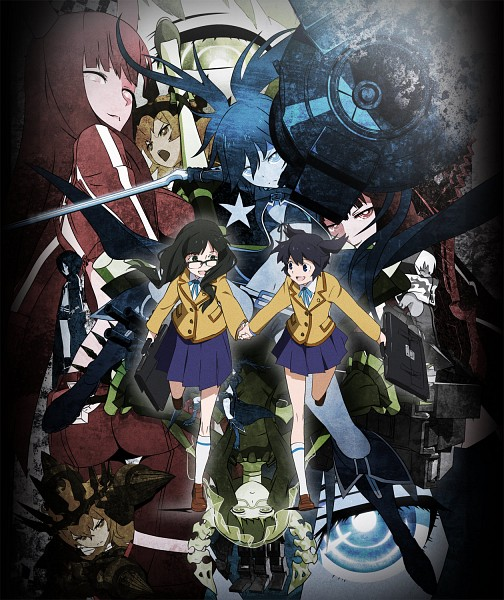 Tags: Anime, SANZIGEN, Black★Rock Shooter, Dead Master, Takanashi Yomi, Chariot (Black★Rock Shooter), Kuroi Mato, Black★Gold Saw, Black★Rock Shooter (Character), STRength, Arm Cannon, Official Art