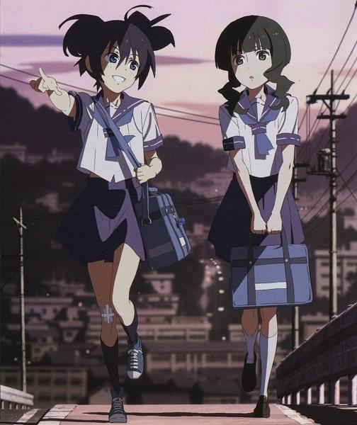 Tags: Anime, SANZIGEN, Huke/b★rs Project, Black★Rock Shooter, Kuroi Mato, Takanashi Yomi, Official Art