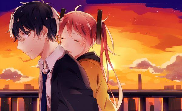 Tags: Anime, Pixiv Id 2967142, Black Bullet, Satomi Rentarou, Aihara Enju, Fanart From Pixiv, PNG Conversion, Pixiv, Fanart