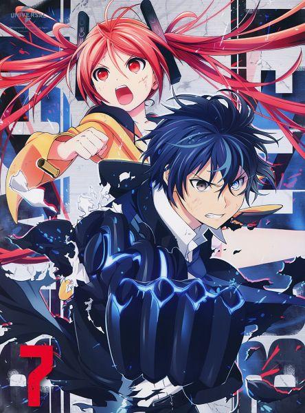 Tags: Anime, Umishima Senbon, Kinema Citrus, Black Bullet, Satomi Rentarou, Aihara Enju, Official Art, Scan, DVD (Source), Mobile Wallpaper