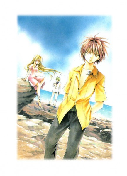 Tags: Anime, Yabuki Kentarou, Black Cat (Series), Sven Vollfied, Train Heartnet, Eve (Black Cat), Scan, Mobile Wallpaper, Official Art