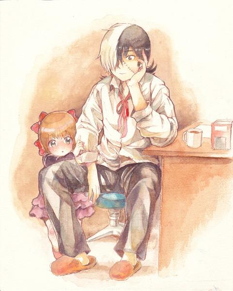 Tags: Anime, Hibiki Bagawa, Black Jack, Black Jack (Character), Pinoko, Fanart, Watercolor, Traditional Media, Pixiv