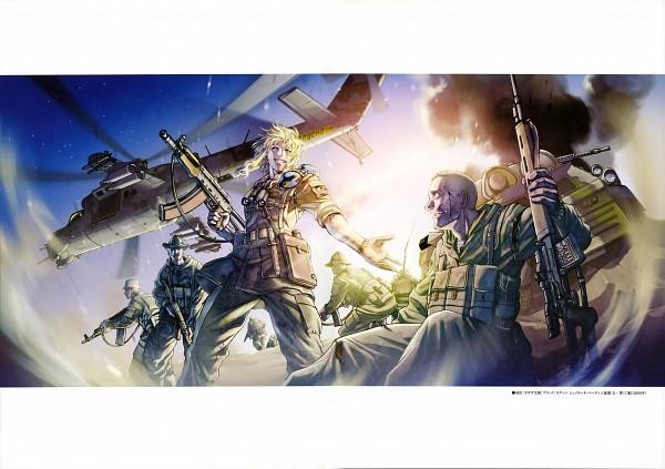 Tags: Anime, Hiroe Rei, Black Lagoon, Balalaika, Russian Text, Assault Rifle, Sniper Rifle, Helicopter, Scan, Official Art, Soviet Union