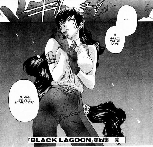 Tags: Anime, Hiroe Rei, Black Lagoon, Roberta, Adjusting Gloves, Small Manga Page, Scan, Manga Page