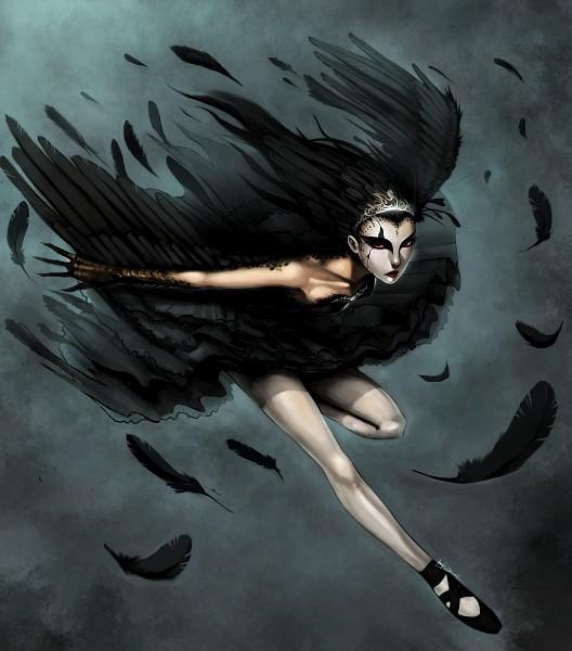 Tags: Anime, Ninjatic, Black Swan, Red Sclera, Ballerina Outfit, Ballet Shoes, Ballet, deviantART, Fanart