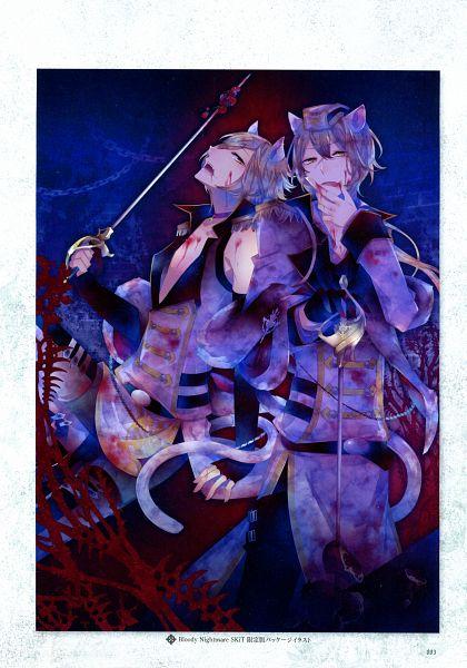Tags: Anime, Kuroyuki, Rejet, Black Wolves Saga Bloody Nightmare & Last Hope Official Fanbook, Black Wolves Saga, Auger Von Garibaldi, Mejojo Von Garibaldi, Scan, Mobile Wallpaper, Official Art