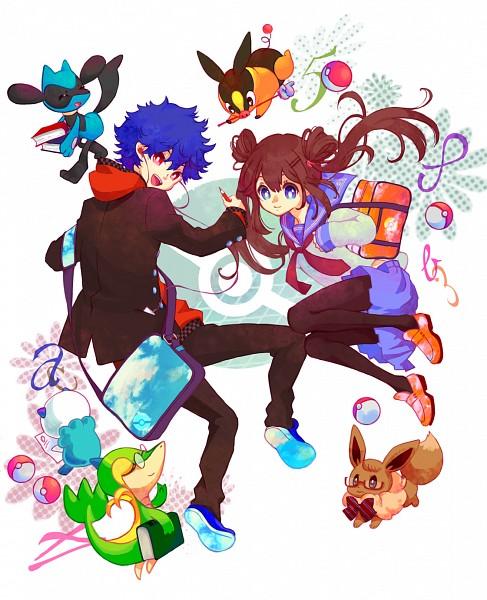 Tags: Anime, Rikovui, Black and White 2, Pokémon, Hue, Tepig, Mei (Pokémon), Riolu, Eevee, Snivy, Oshawott, Fanart, Pixiv