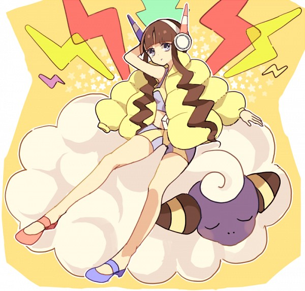 Tags: Anime, Pixiv Id 412404, Black and White 2, Pokémon, Kamitsure, Mareep, Pixiv, Fanart From Pixiv, Fanart