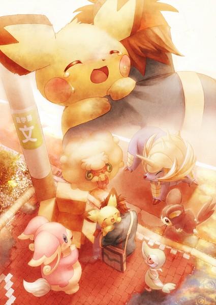 Tags: Anime, Coken, Black and White 2, Pokémon, Whimsicott, Pichu, Audino, Emolga, Snivy, Kyouhei, Samurott, Mobile Wallpaper, Pixiv