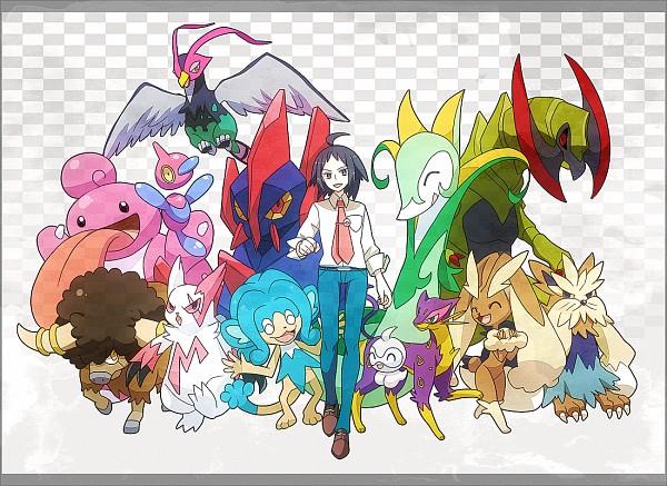 Tags: Anime, Kanade (Pixiv4143060), Black and White 2, Pokémon, Stoutland, Haxorus, Zangoose, Unfezant, Castform, Porygon-z, Serperior, Bouffalant, Liepard