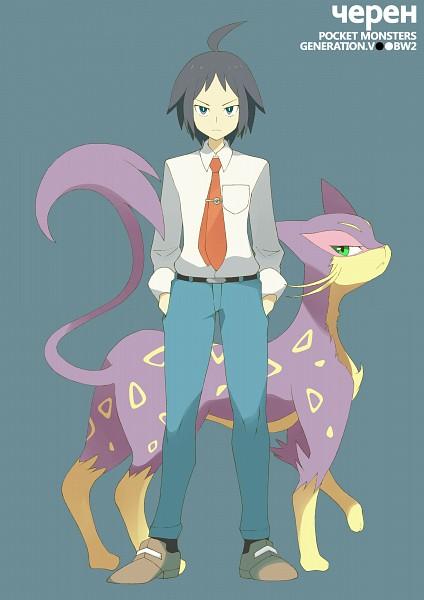 Tags: Anime, Souji (Pixiv194555), Black and White 2, Pokémon, Liepard, Cheren (Pokémon), Pixiv, Fanart From Pixiv, Mobile Wallpaper, PNG Conversion, Fanart, Gym Leader