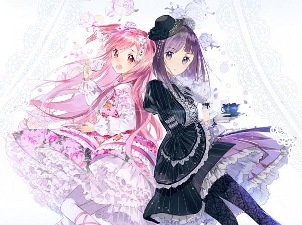 Tags: Anime, AkiruNyang, Cookie Run, Cherry Blossom Cookie, Blackberry Cookie, Vertical-striped Dress, Fanart From Pixiv, Pixiv, Fanart, BlackBlossom