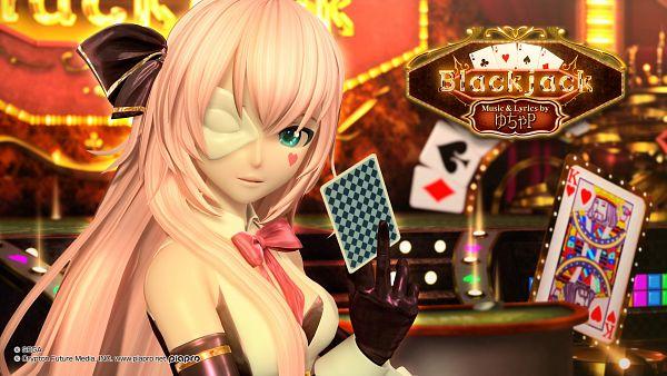 Tags: Anime, Project DIVA Arcade Future Tone, VOCALOID, Megurine Luka, Spade (Card), Clubs (Card), Casino Dealer, Card Game, 2560x1440 Wallpaper, Hair Over Breasts, Casino, Blackjack, Project DIVA Temptation