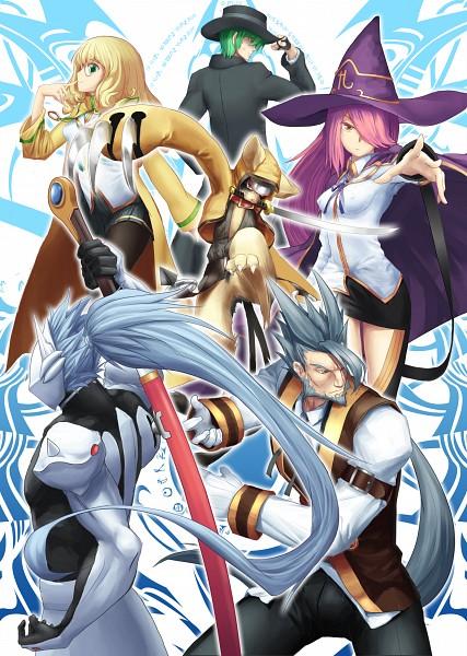 Tags: Anime, Tsukikanade, BlazBlue, Trinity Glassfield, Jubei, Nine (Blazblue), Hazama, Valkenhayn Hellsing, Hakumen, Metal Claws, Mobile Wallpaper