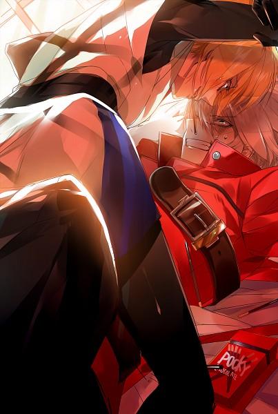 Tags: Anime, Hs (Pixiv 2934068), BlazBlue, Ragna the Bloodedge, Kisaragi Jin, Mobile Wallpaper