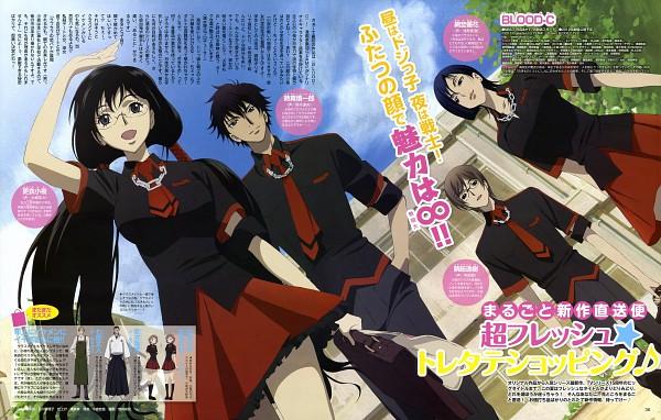 Tags: Anime, Ishikawa Mariko, Blood-C, Kisaragi Saya, Tokizane Shinichirou, Amino Yuka, Tomofusa Itsuki, Official Art, Magazine (Source), Scan