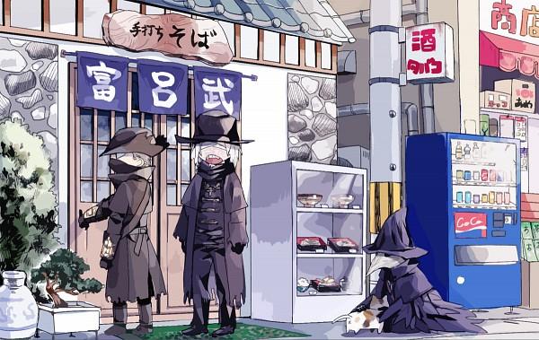 Tags: Anime, Sennai, Bloodborne, The Hunter (Bloodborne), Father Gascoigne, Eileen the Crow, Fanart, Fanart From Pixiv, Pixiv