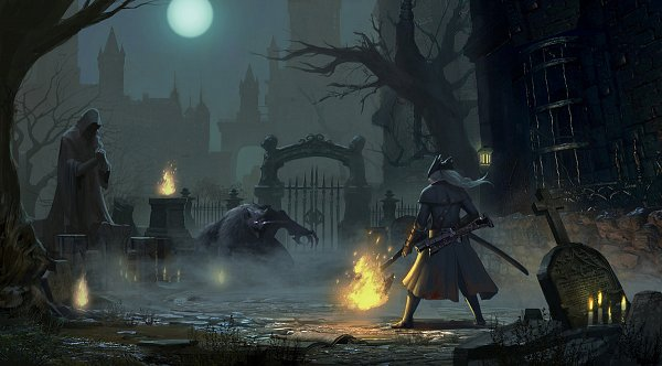 Tags: Anime, Bloodborne, The Hunter (Bloodborne), Beast, Graveyard, Werewolf